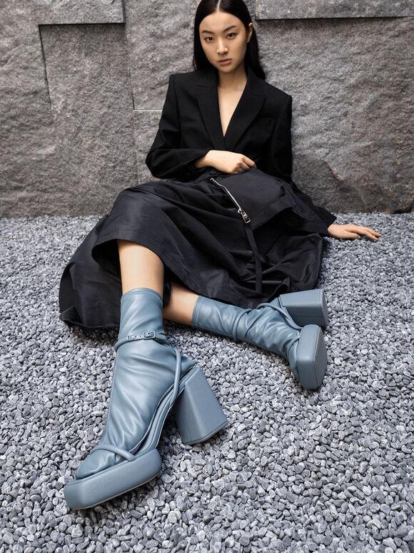 Sepatu Calf Boots Lucile Platform, Blue, hi-res