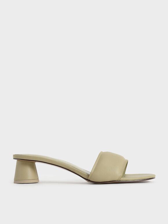 Sandal Puffy Cylindrical Heel Mules, Taupe, hi-res