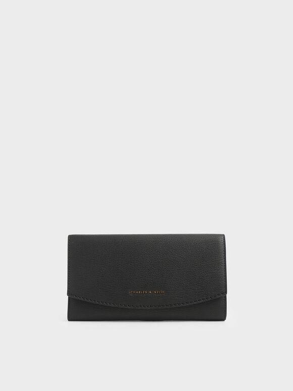 Dompet Panjang Flap Mini Depan, Black, hi-res