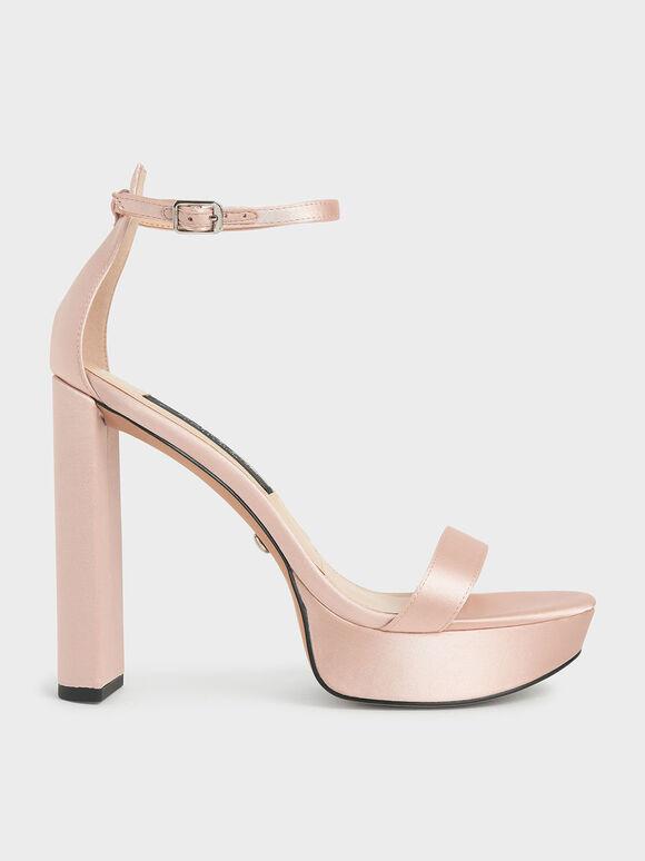 Wedding Collection: Satin Platform Sandals, Pink, hi-res