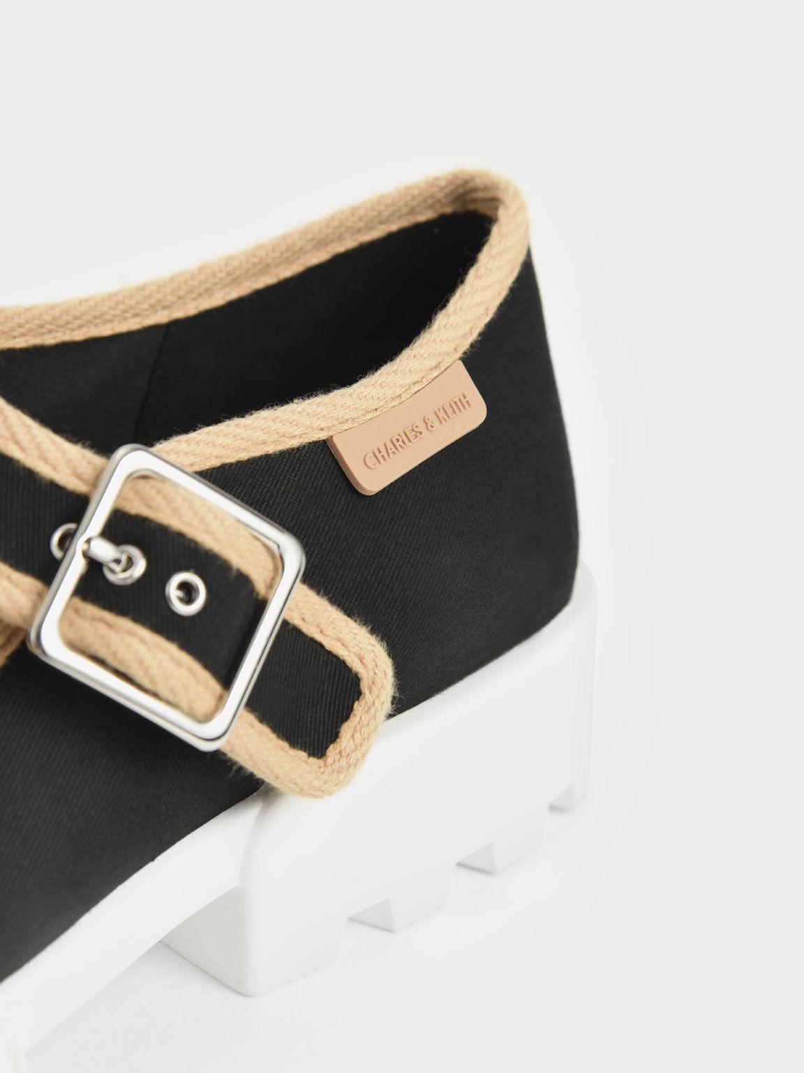 Sepatu Sneakers Recycled Cotton Buckle, Black Textured, hi-res