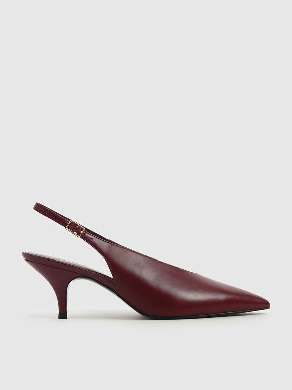 Sepatu Pointed Toe Slingback Court, Burgundy, hi-res