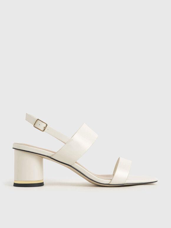 Sandal Cylindrical Heel, Chalk, hi-res