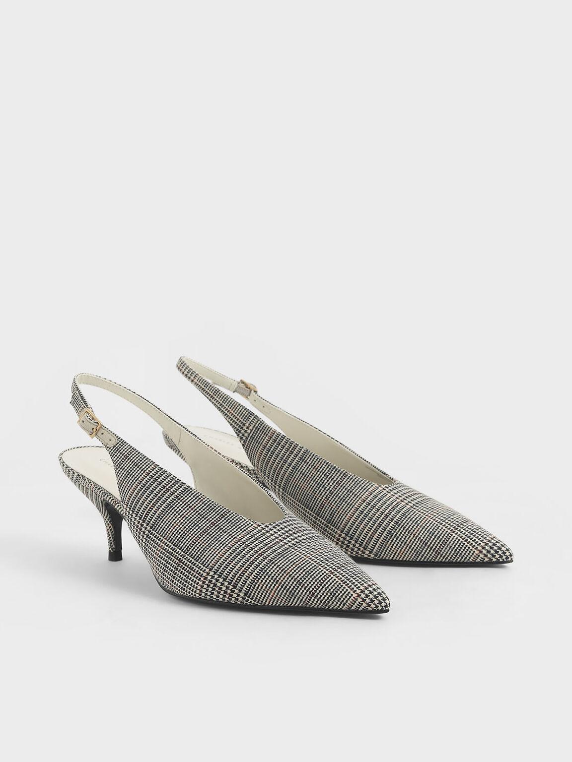 Sepatu Check-Print Pointed Toe Slingback Pumps, Light Grey, hi-res