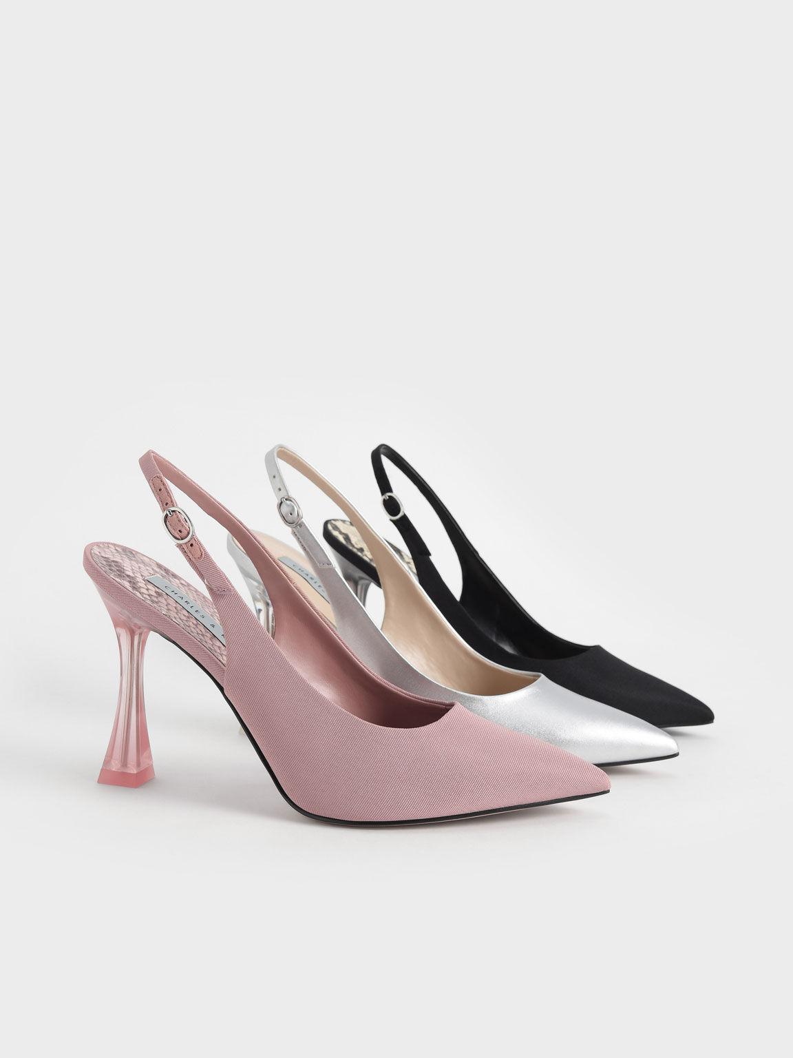 Sepatu Clear Sculptural Heel Slingback Pumps, Black, hi-res