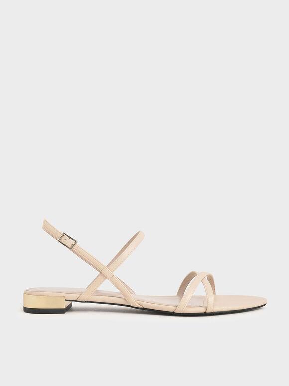 Sandal Strappy Flat, Chalk, hi-res