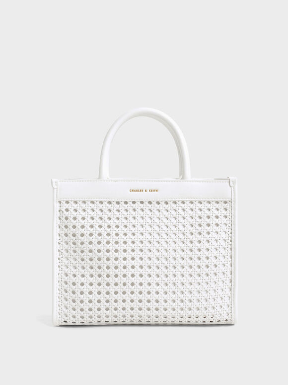 Woven Double Handle Tote Bag, White, hi-res