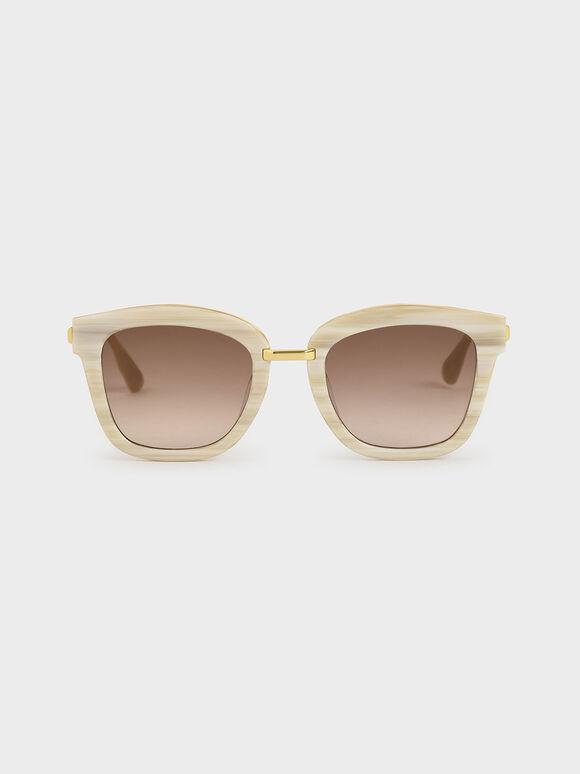 Acetate Wayfarer Sunglasses, Cream, hi-res