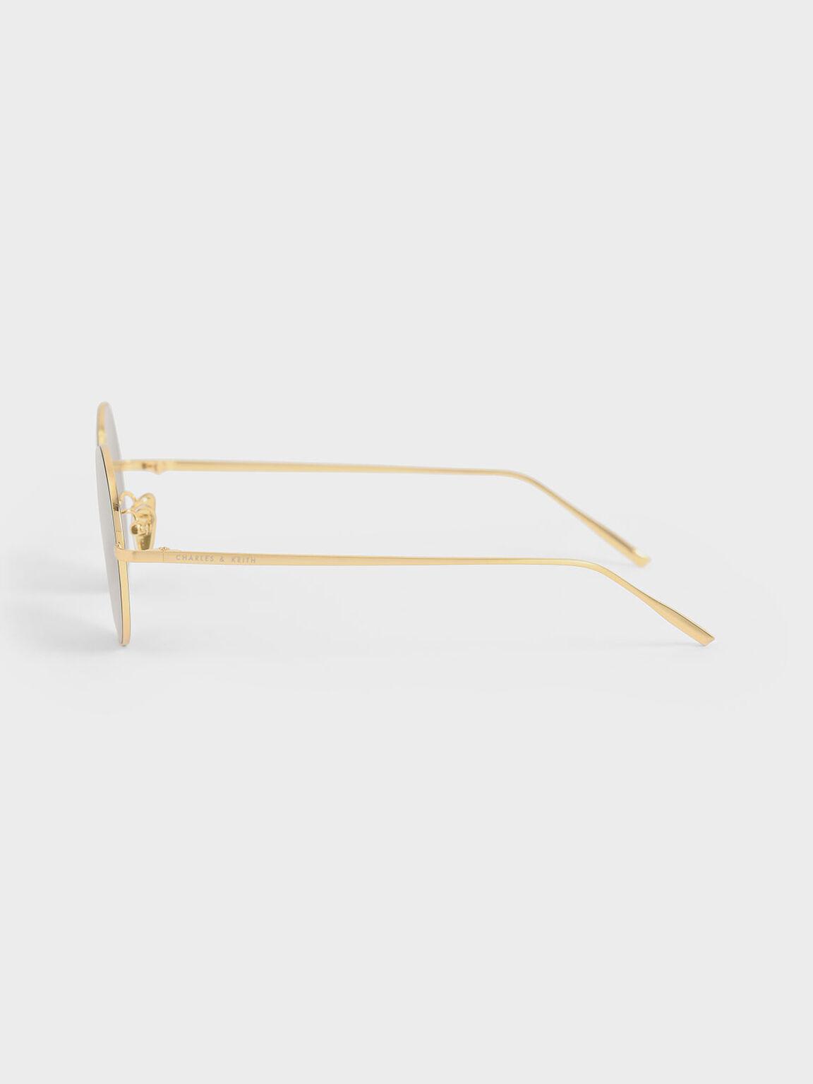 Kacamata Round Tinted, Gold, hi-res