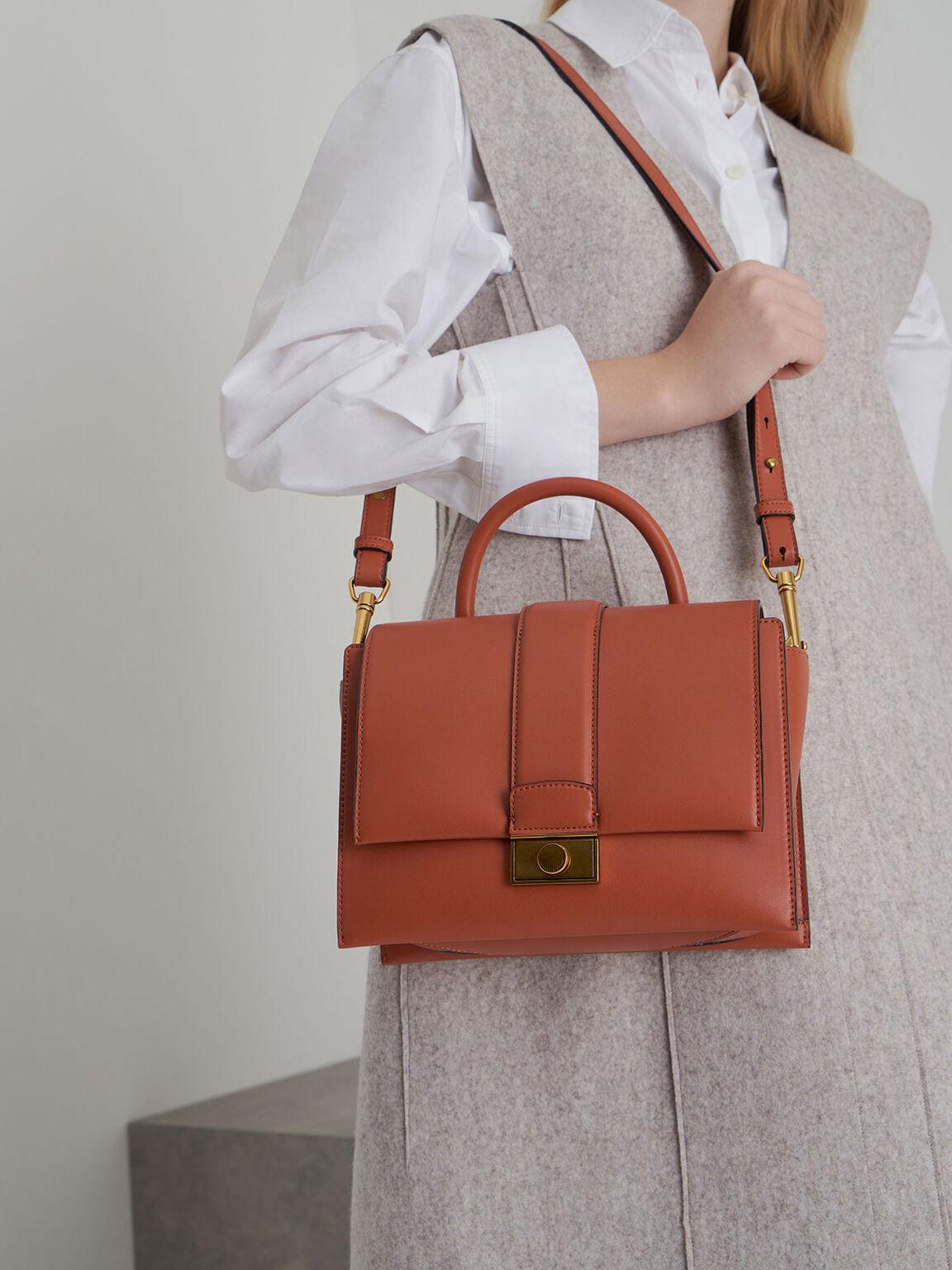 Metallic Push-Lock Handbag, Clay, hi-res