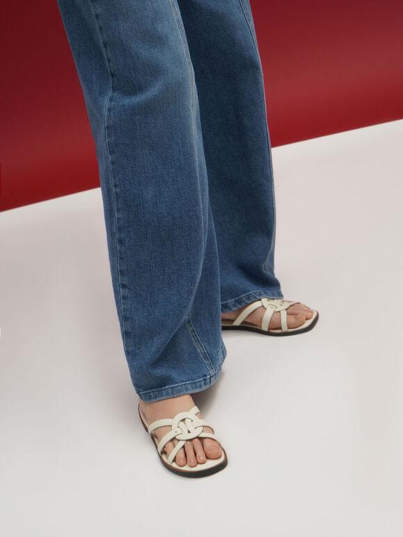 Sepatu Flats Ring Detail Strappy, Chalk, hi-res