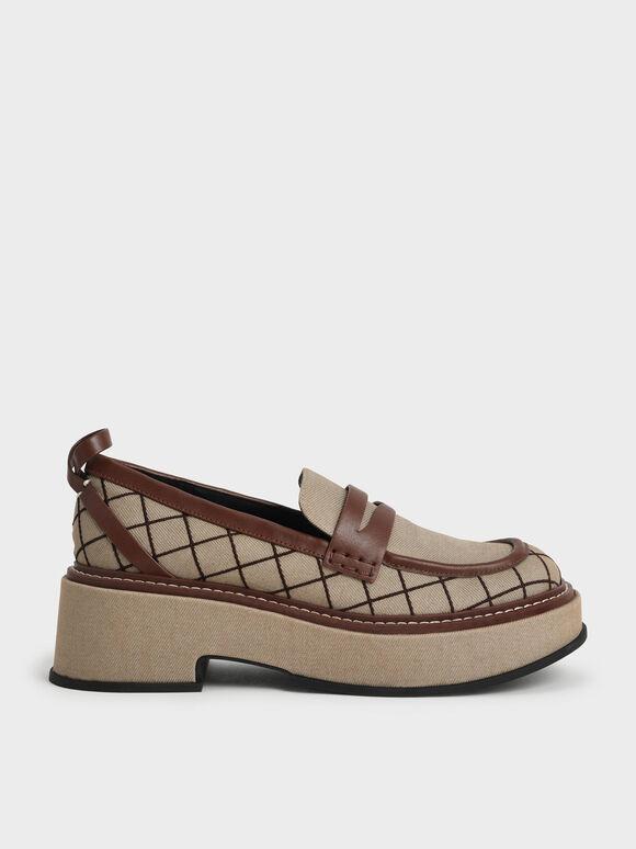 Sepatu Frankie Grid-Print Platform Penny Loafers, Brown, hi-res