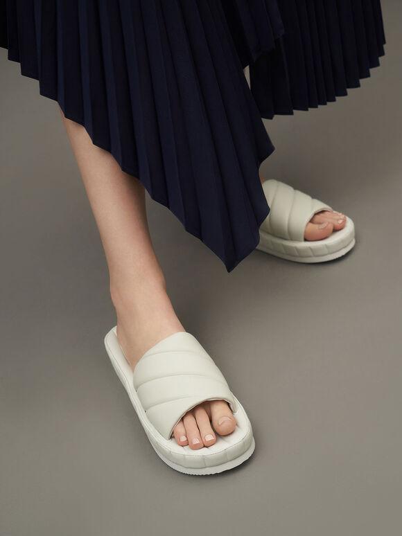 Sandal Puffy Flatform Slide, White, hi-res
