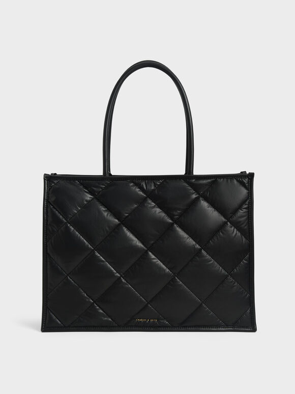 Tas Tote Double Handle Quilted, Black, hi-res