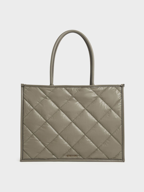 Tas Tote Double Handle Quilted, Taupe, hi-res