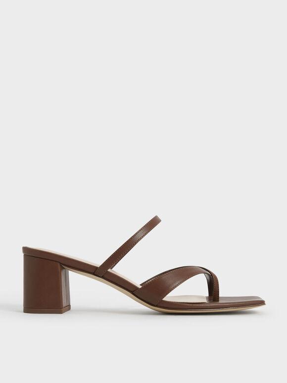 Sandal Block Heel Toe Loop, Brown, hi-res