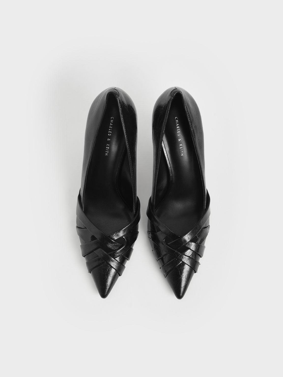 Woven Patent Stiletto Pumps, Black, hi-res