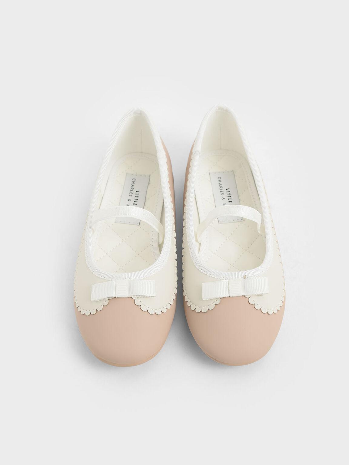 Girls' Scallop Trim Ballerina Flats, Pink, hi-res