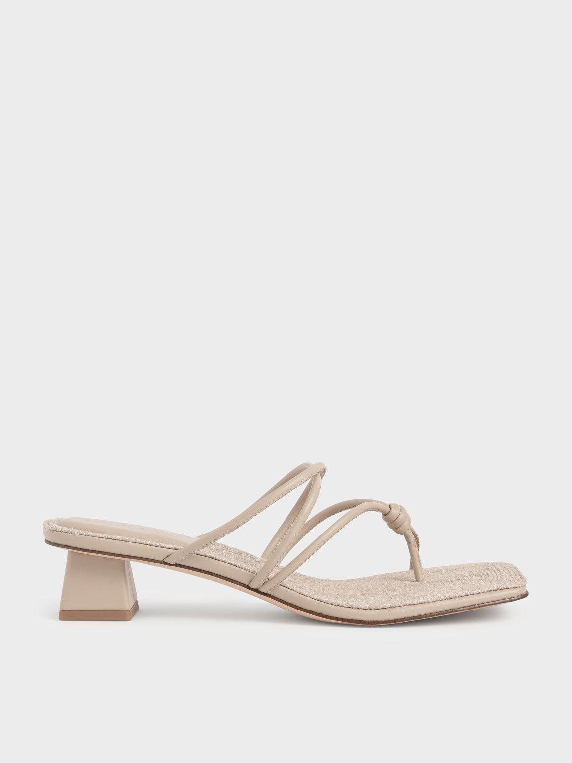 Sandal Toe Loop Strappy Heeled, Beige, hi-res