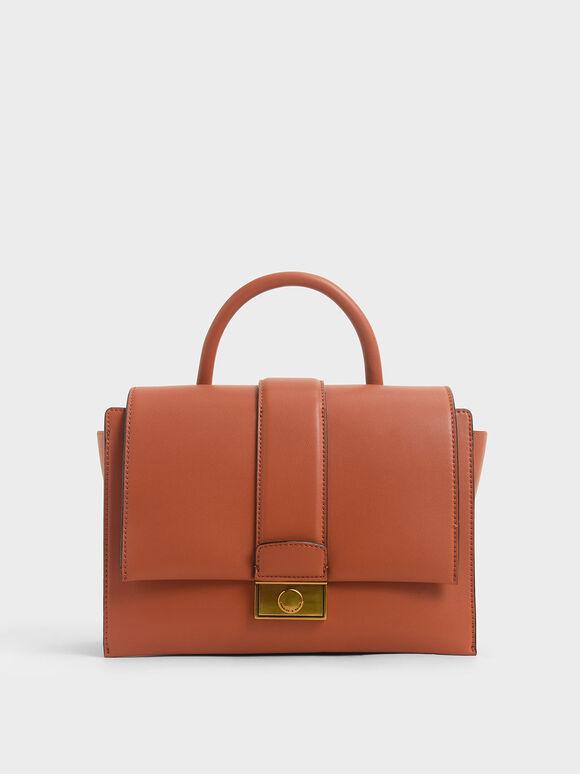 Tas Handbag Metallic Push-Lock, Clay, hi-res