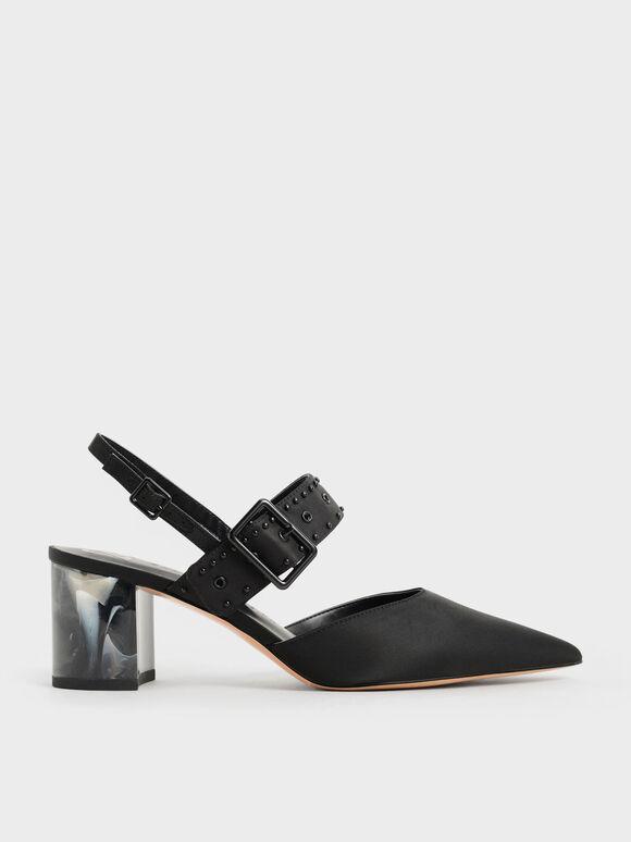 The Anniversary Series: Sepatu Slingback Pumps Sepphe Recycled Nylon Grommet, Black, hi-res