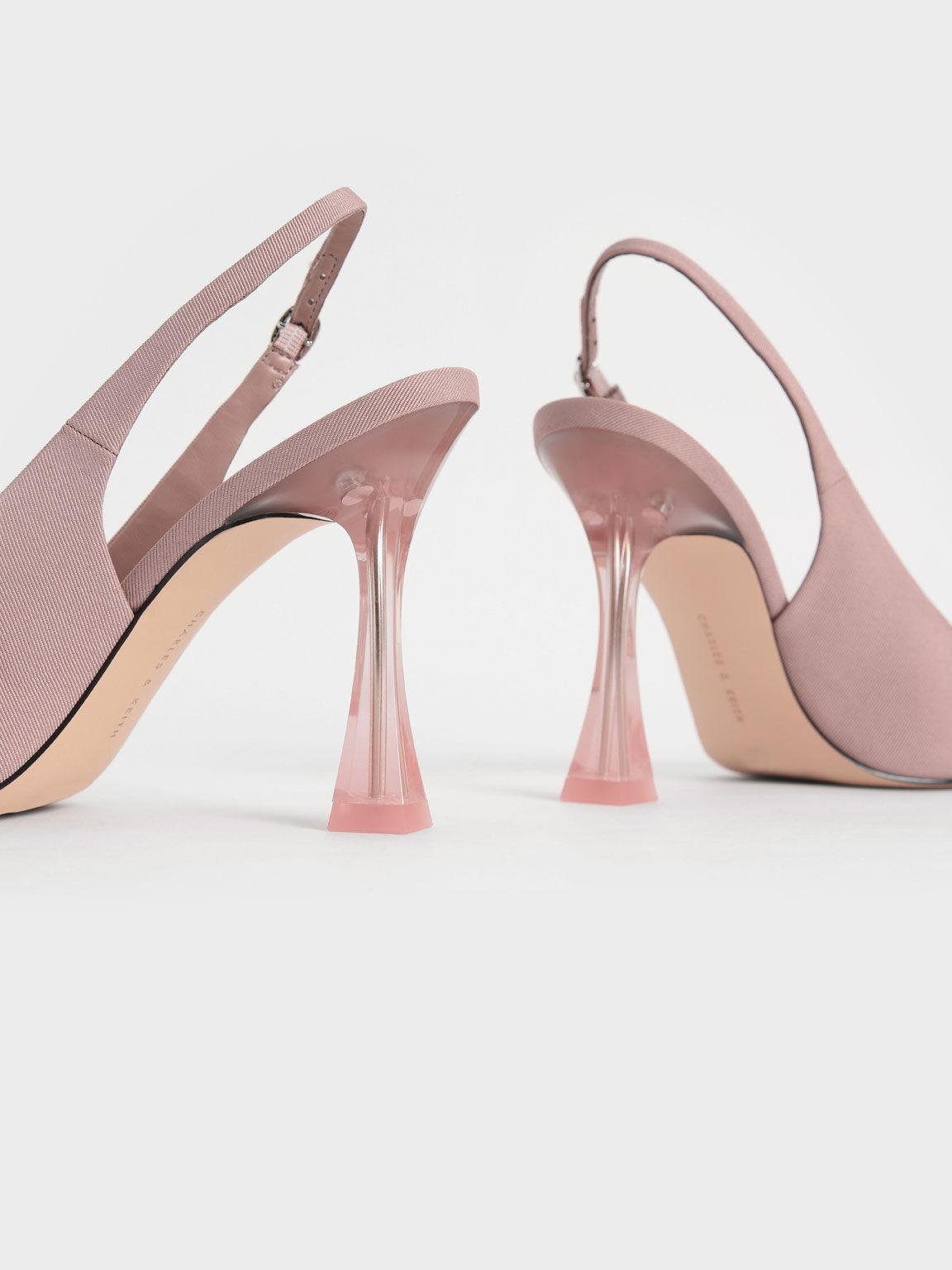 Sepatu Clear Sculptural Heel Slingback Pumps, Nude, hi-res