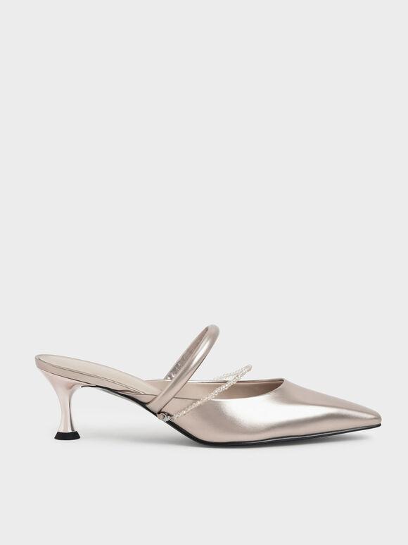Sepatu Beaded Strap Mules, Rose Gold, hi-res