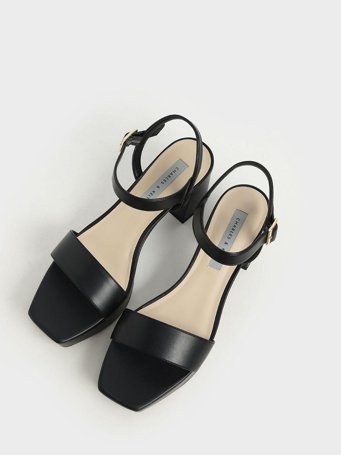 Sandal Platform Tali PerWristletan Kaki, Black, hi-res
