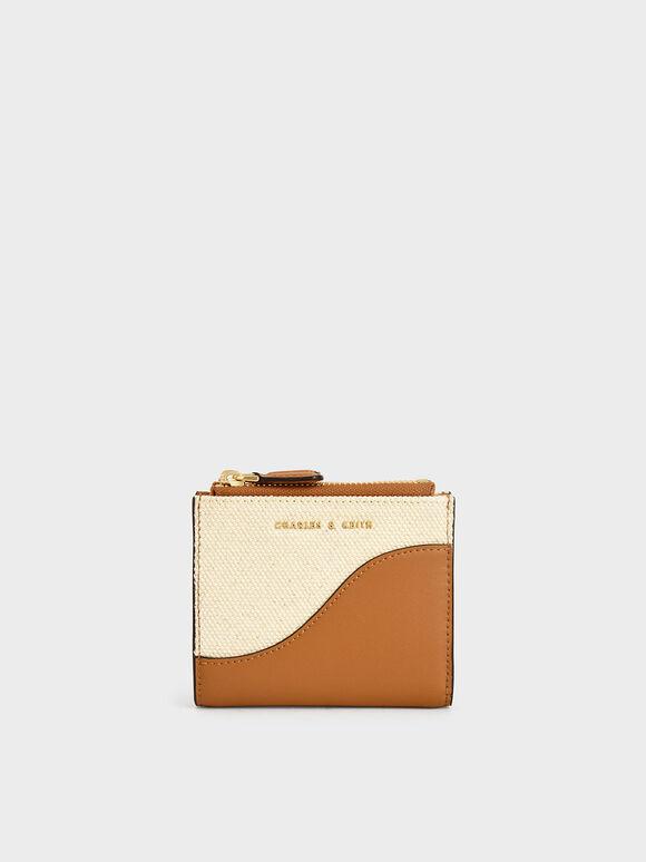 Dompet Mini Ritsleting Atas Dua Warna, Cognac, hi-res
