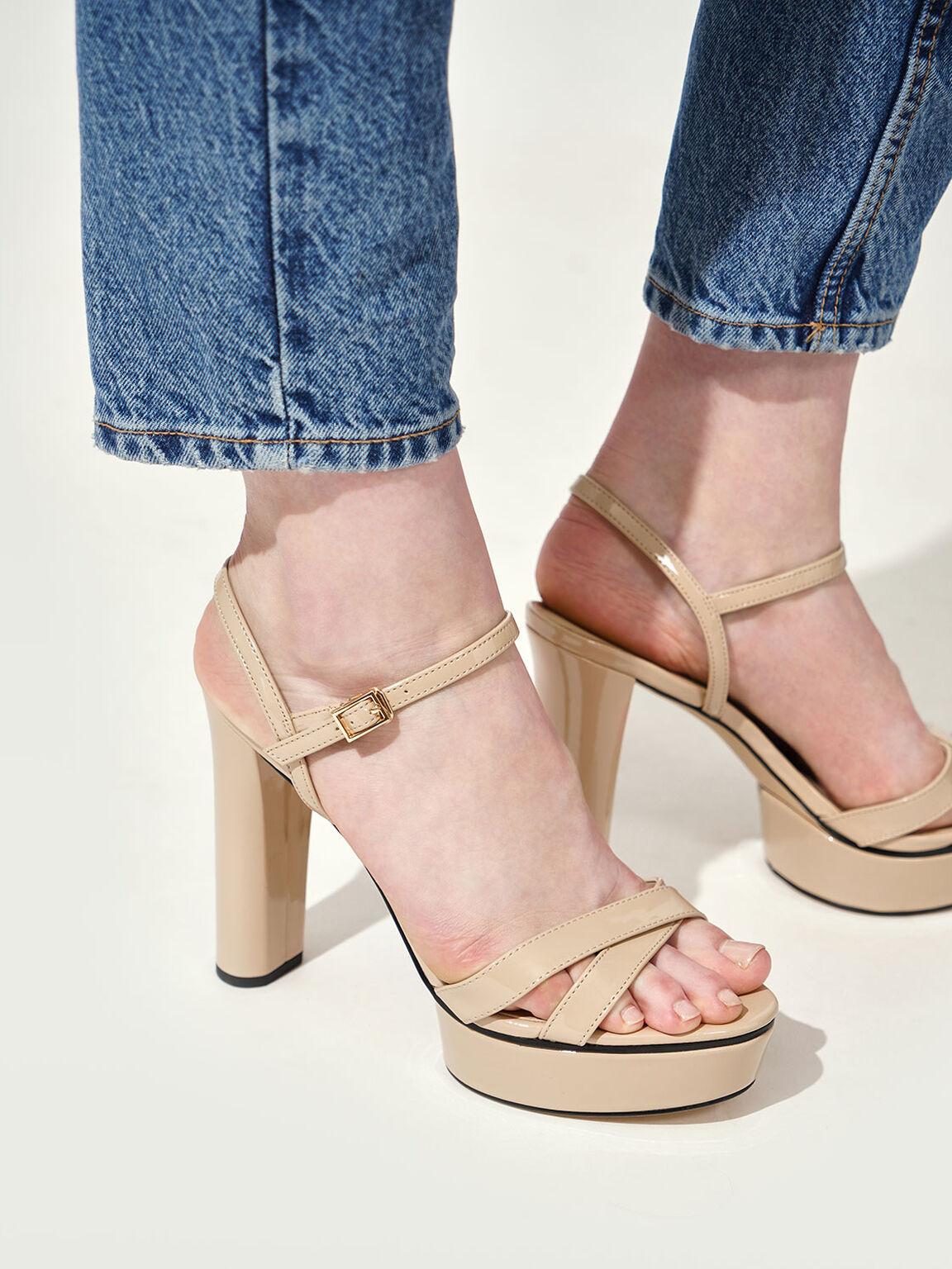 Patent Criss-Cross Platform Sandals, Nude, hi-res