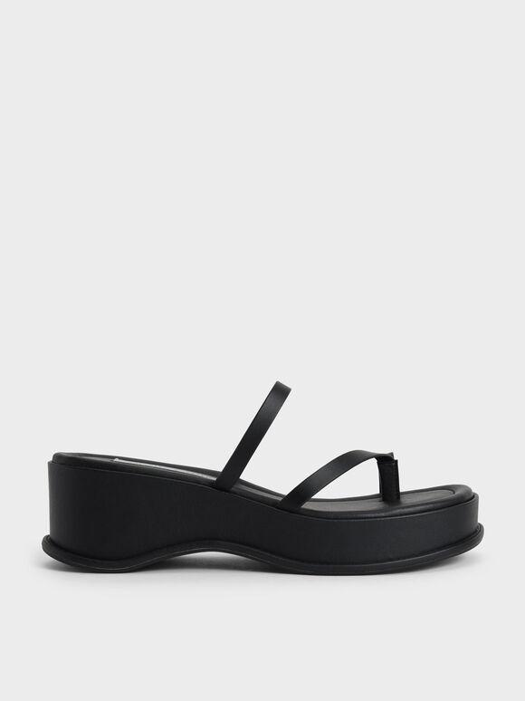 Sandal Toe Loop Flatform, Black, hi-res