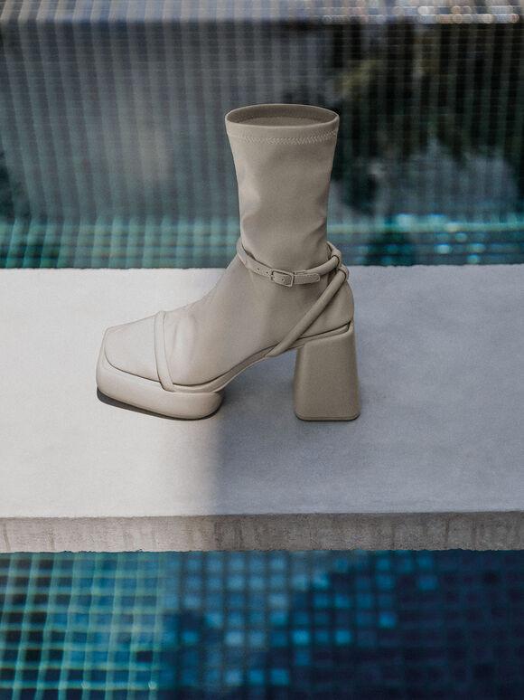 Sepatu Lucile Platform Calf Boots, Grey, hi-res
