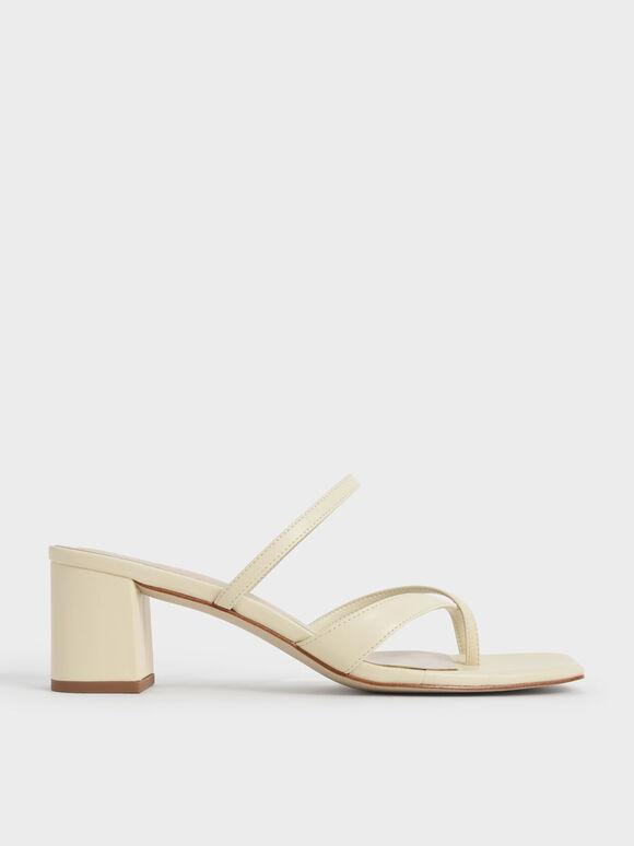 Sandal Block Heel Toe Loop, Chalk, hi-res