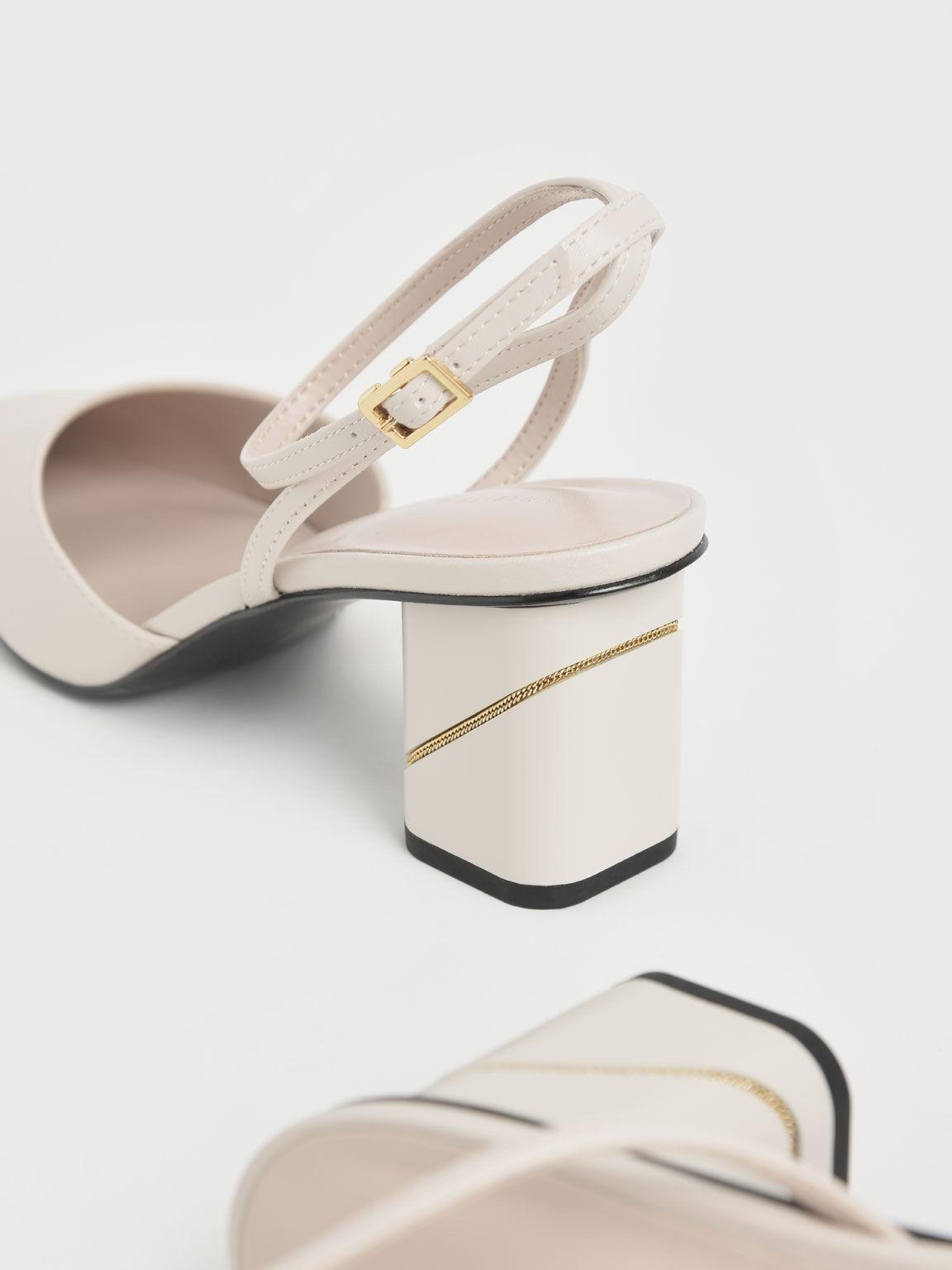 Sepatu Ankle Strap Pointed Toe Pumps, Chalk, hi-res