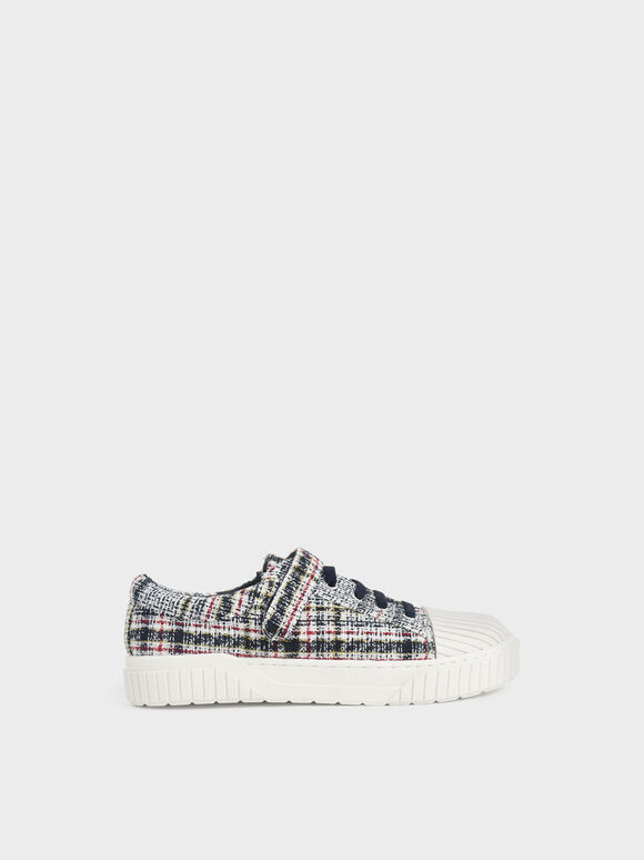 Girls' Tweed Platform Sneakers, Dark Blue, hi-res