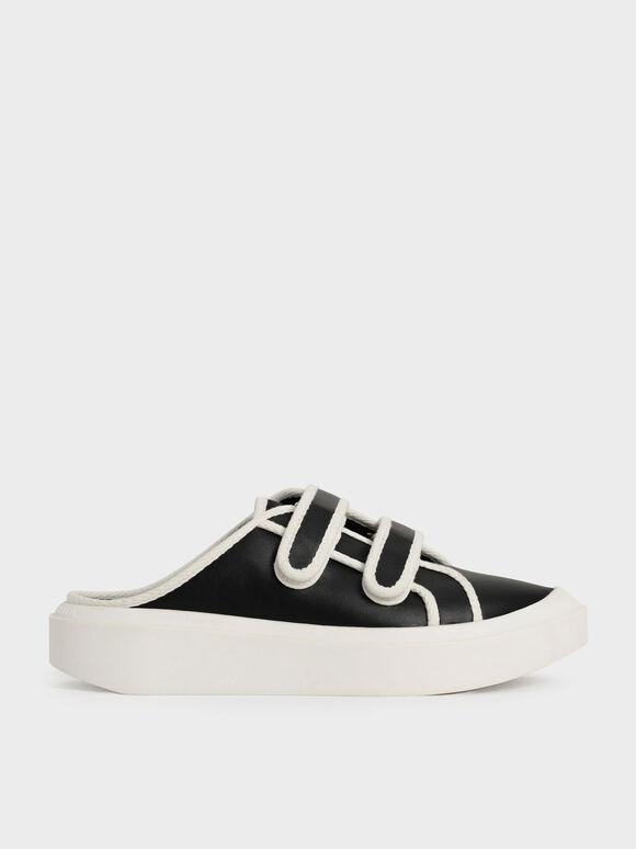 Sepatu Sneaker Mules Two-Tone Velcro, Black, hi-res