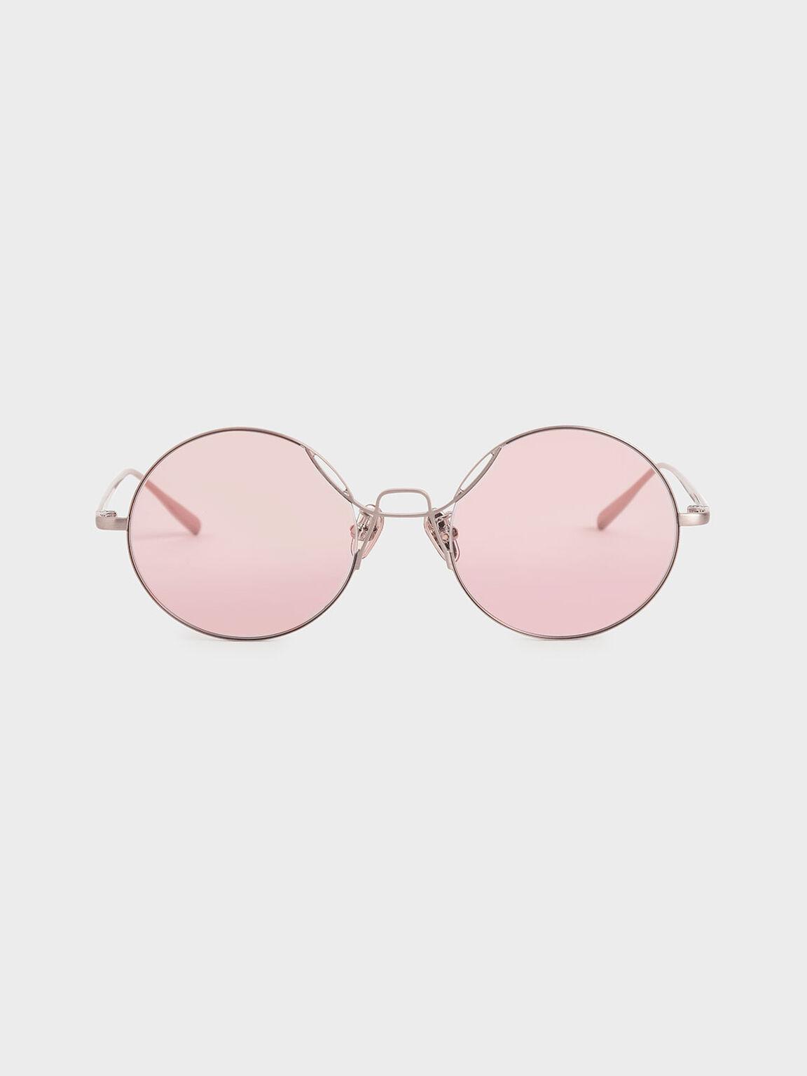 Kacamata Round Tinted, Rose Gold, hi-res
