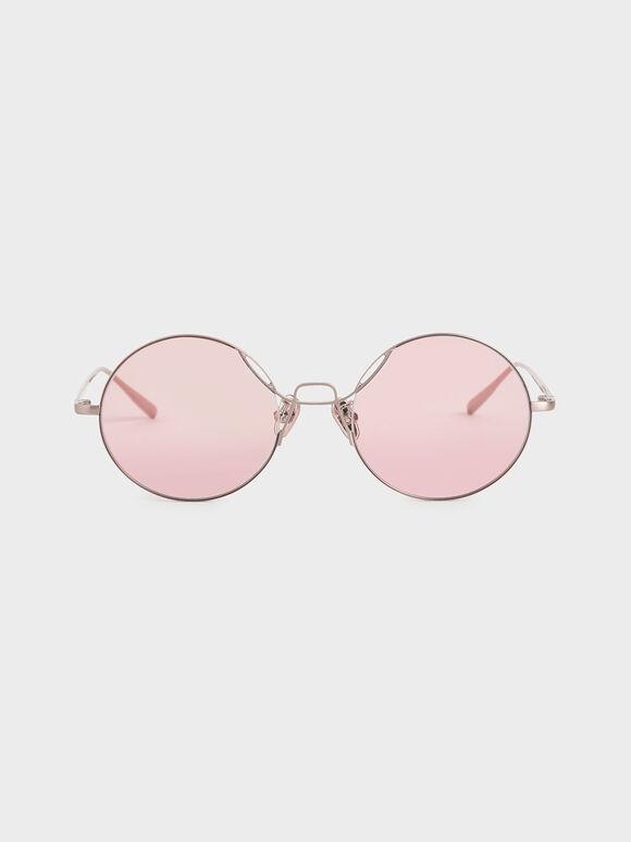 Round Tinted Sunglasses, Rose Gold, hi-res