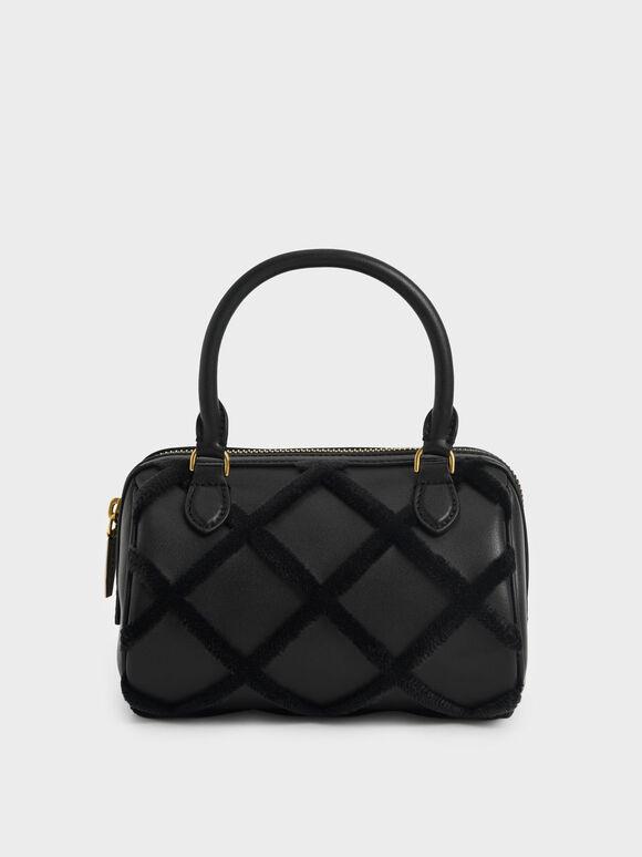 Tas Top Handle Bag Criss-Cross Pattern, Black, hi-res