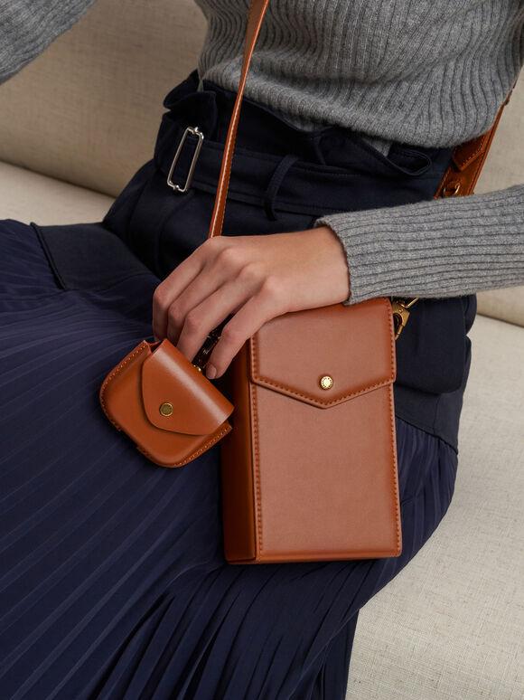 Elongated Crossbody Bag, Cognac, hi-res