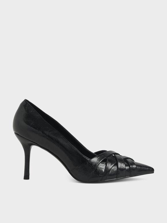 Sepatu Woven Patent Stiletto Pumps, Black, hi-res