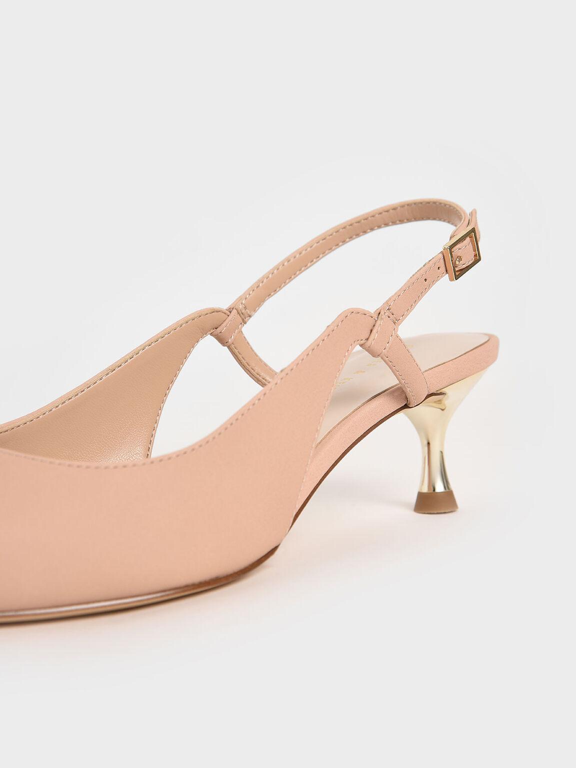 Sepatu Cut-Out Slingback Kitten Heel Pumps, Nude, hi-res