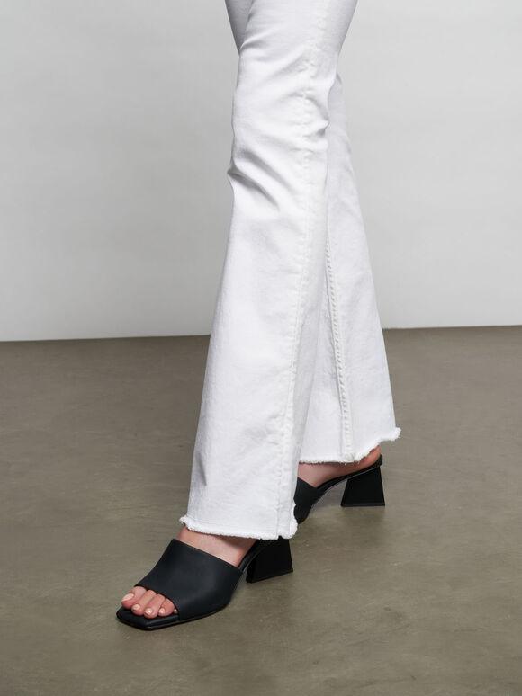 Sandal Leather Trapeze Heel Mules, Black, hi-res