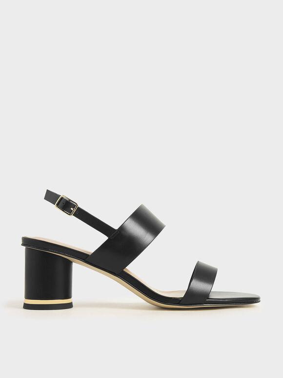 Sandal Cylindrical Heel, Black, hi-res