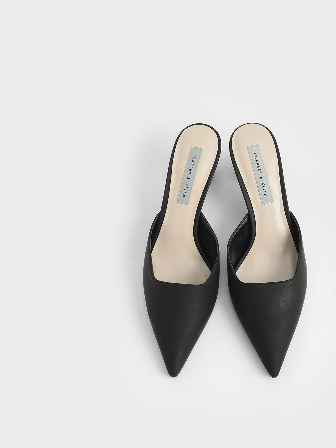 Ruched Cylindrical Heel Mules, Black, hi-res