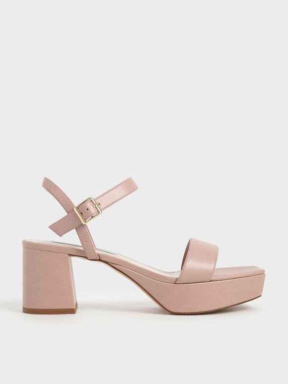 Ankle Strap Platform Sandals, Pink, hi-res