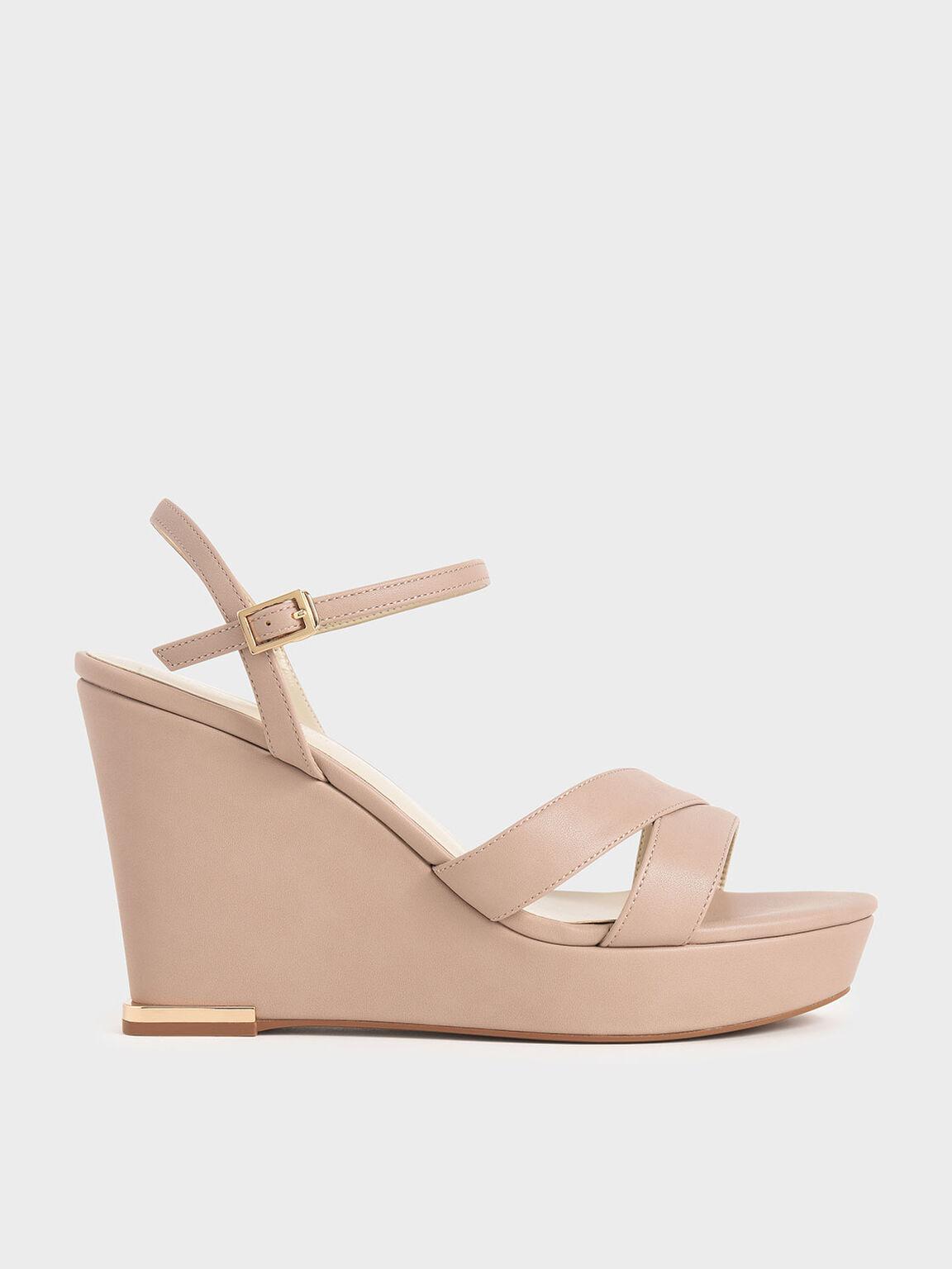 Sepatu Asymmetric Strap Platform Wedges, Nude, hi-res