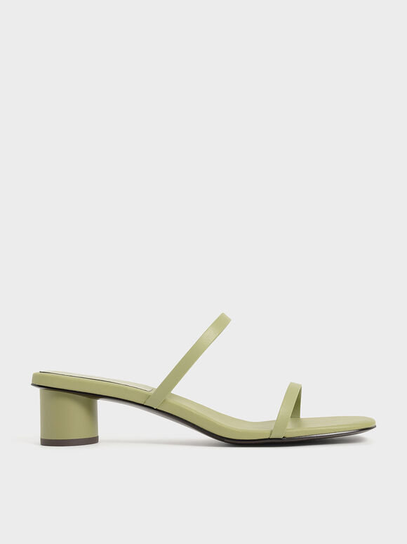 Sandal Double Strap Cylindrical Heel Mules, Sage Green, hi-res