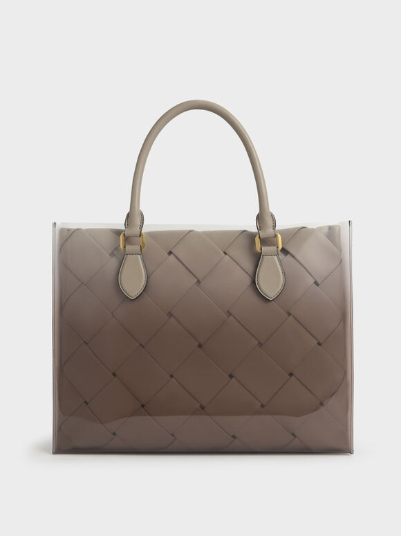 Tas Woven Double Top Handle, Taupe, hi-res