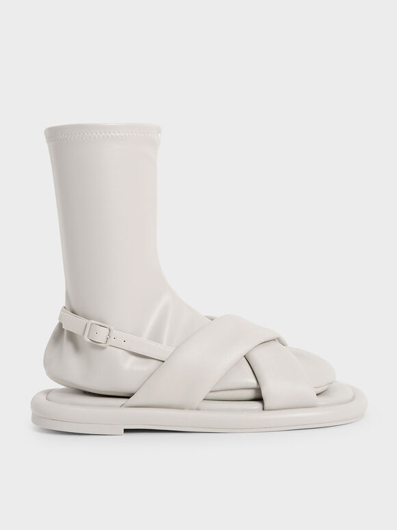 Sepatu Flat Calf Boots Lucile, Grey, hi-res